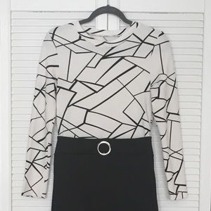Dresses & Skirts - Black and White Long Sleeve Dress M